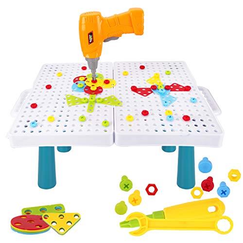 Colmanda Puzzles 3D Mosaicos Infantiles, 184 Piezas Tablero de Mosaico Juguete con Herramienta Tornillo, Puzzles 3D Montessori Juguetes Mosaicos Infantiles para Niños de 3 4 5 Años