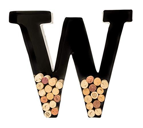Wine Cork Holder - Metal Monogram Letter (W), Black, Large   Wine...