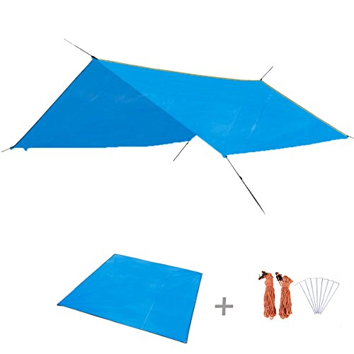 TRIWONDER Camping Tent Tarp Footprint Outdoor Waterproof Hammock Rain Fly Rainfly Cover Sunshade Shelter Groundsheet Canopy Blanket Mat (Blue+Accessories, 84.6 x 84.6 inches)