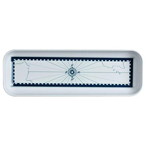 MB Coastal Designs Columbus Nautical Shatter Proof 4-Piece Snack Set, Navy Blue/White