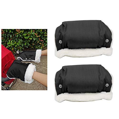 Guantes, manoplas para cochecito, nailon cálido impermeable, algodón, 2 colores, opcional, cómodo, 2 piezas para carros, cochecitos(black)