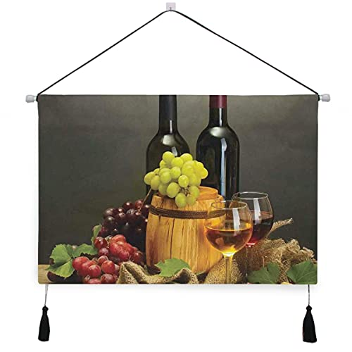 ELIENONO Tapiz,Botellas y copas de vino Uvas maduras en la mesa de madera Cuadro decorativo perchas decorativas para colgar en la pared,desplazamiento con borlas para la decoración de la oficina del