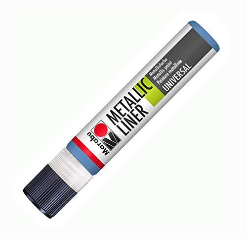 Marabu 18030009752 - Metallic Liner blau, Effektfarbe auf Wasserbasis, für schimmernde...