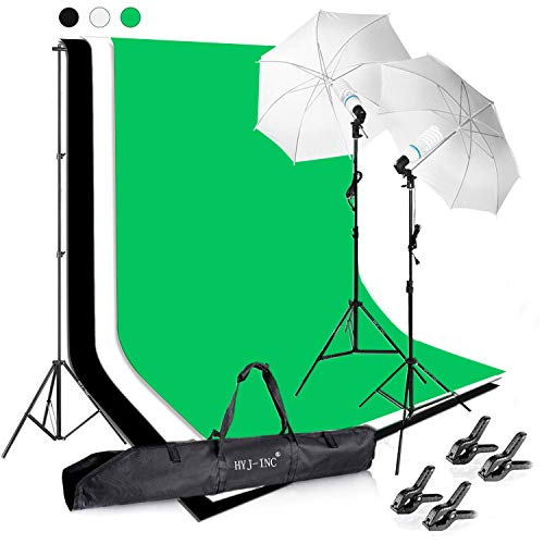 HYJ-INC Photography Photo Video Studio Background Stand Support Kit with 3 Muslin Backdrop Kits (White Black Chromakey Green Screen Kit),1050W 5500K Daylight Umbrella Lighting Kit with Carry Bag
