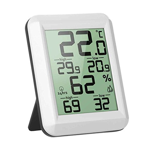wufeng Digitale LCD-Thermometer-Hygrometer Elektronische Temperatur Feuchtigkeit und Feuchtigkeitsmessgerät Digital-LCD Meter MIN/MAX Aufzeichnungen Innenwetterstation
