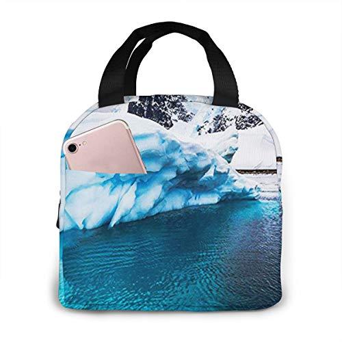 QCFW Lunch Tasche Kühltasche Picknick Schule Lunch Paket Kühlbox Isoliertasche Mittagessen Tasche für Herren Damen Kinder Im Freien Iceberg Bay Antarctica