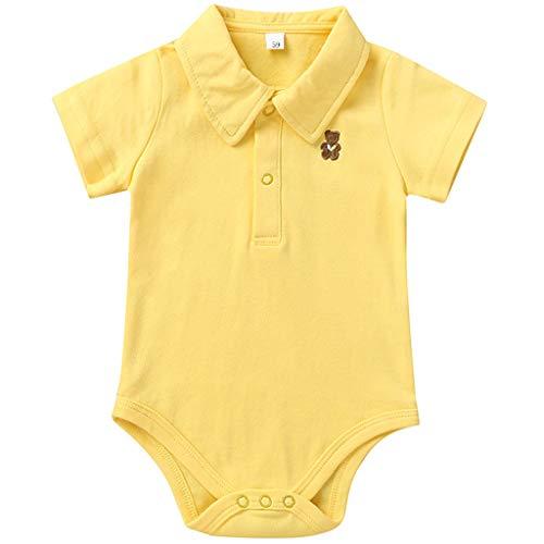 Bambino Body Polo Pagliaccetto a Manica Corta Tutine in Cotone Pigiami Bambina Onesie Outfit, Giallo 3-6 Mesi