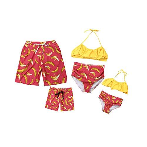 Maman et Fille Maillot de Bain Dos Nu Col à Volants Imprimés Bikini Set, Papa et Garçon Beach Shorts, Famille Correspondant Maillot de Bain, Couple Maillot de Bain de Vacances