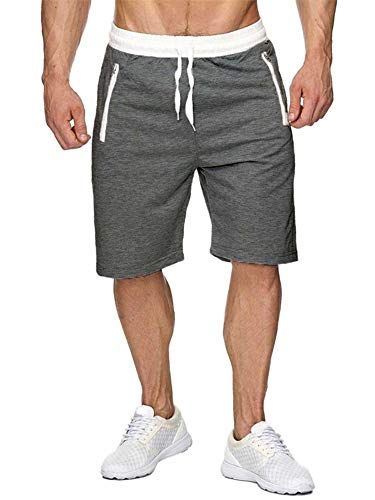 Newbby Mens Elastic Waist Drawstring Joggers Sweat Short Pants Summer Workout Shorts with Zipper Pockets (XL, Dark Grey Mens Shorts)