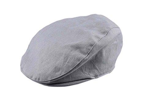 Bienzoe Boy's Cotton Linen Striped Flat Peaked Hat Newsboy Golf Baker Denim 4/5