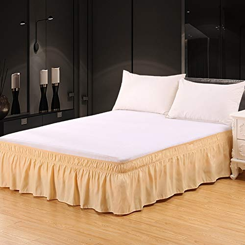 XUANDIAN Twin Bed Skirt Full Size Pure Bed Ruffle Skirts,Deep Beige,16 Inch Drop