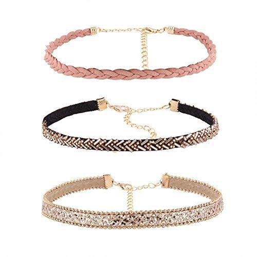 Halskette 3-teilig, Halsreif aus Leder, Halsreif aus Metall, Zirkonia, Kettenglieder, Geschenk Schmuck