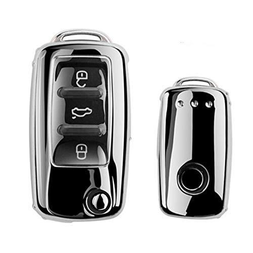 ZYHYCH Soft TPU Car Key Case Full Cover, Apta para VW Volkswagen Polo Golf Passat Beetle Caddy T5 Up EOS Tiguan SkodaA5 Seat Leon Altea, Plateado