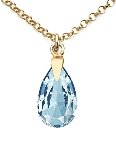 GIFTBOXED! Ah! Jewellery Women's 16mm Aquamarine Pear Crystal Necklace With A 45cm Long Anchor Chain. Finished in 24K Gold Over Sterling Silver. Stamped 925.