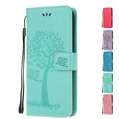 Leather Wallet Phone Case for Samsung Galaxy S6 Flip Cover with Owl Life Tree Pattern Design Card Holder Slot Silicone Protective for Girls Boys - Green Owl
