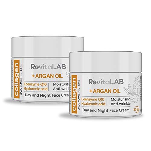 RevitaLAB - Crema hidratante antiarrugas de día y de noche con colágeno enriquecida con ácido hialurónico, Q10, aceite de argán y un filtro UVA/UVB, franja de edad 40-55, 2x 50 ml (multipaquete)