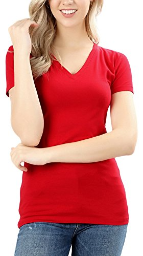 ToBeInStyle Women's Short Sleeve V-Neck Basic T-Shirt - Ruby - L
