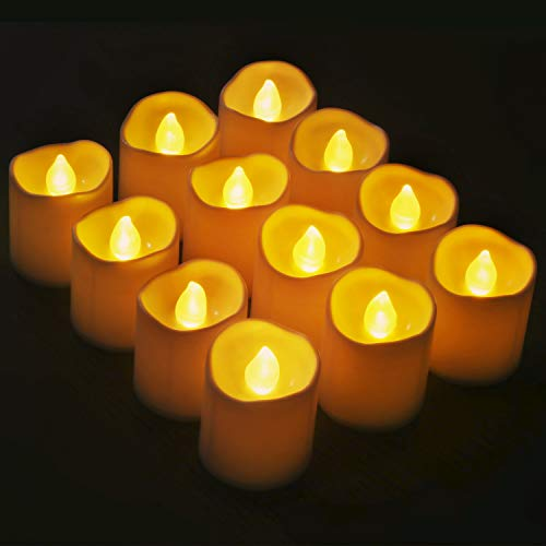 Novelty Place [Longest Lasting Battery Operated Flickering Flameless LED Votive Candles (Pack of 12)