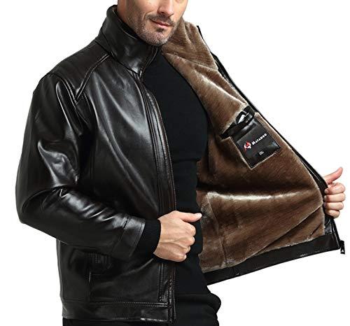 """Jaqueta masculina de couro sintético WSLCN, jaqueta de motociclista, vintage, retrô, casual, clássica, Preto, Bust 48.8"""" (Asian 56)"""