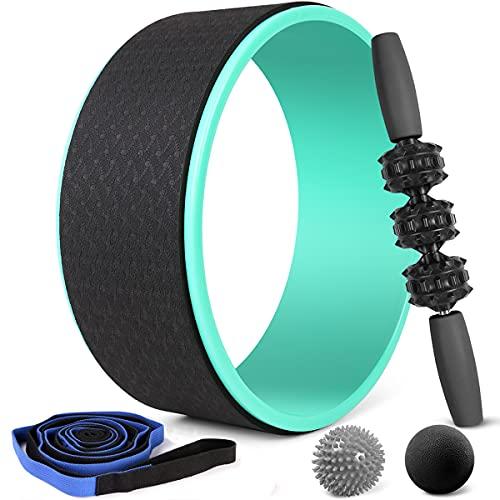 Odoland Rueda de Yoga 5 en 1 Juego con Correa Yoga, Roller Stick, 2 Bolas Masaje, Conjuntos de iniciación para Estiramiento Pilates