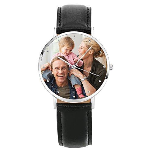 Soufeel Personalisierte Foto Armbanduhr für Damen Herren Analog Schwarz lederarmband Klassisch Zifferblat Wasserdicht
