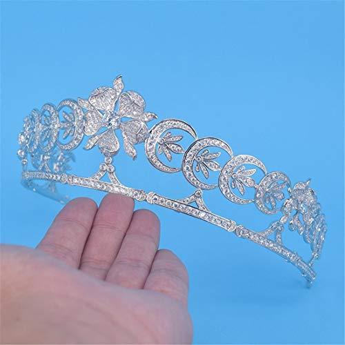 SUIWO Princess Crown Gems Rhinestone Tiara Kid Girl Prom Birthday Prinecess Party Crown Birthday Gift Bride Wedding Zircon Crown Headdress Wedding Dress Accessories (Color : Silver)
