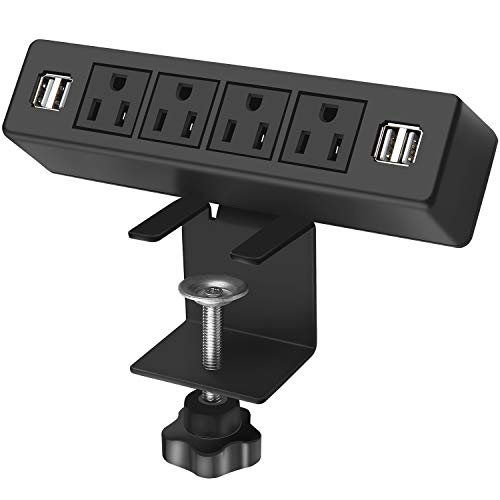 Desk Edge Power Strip with 4 USB Port Removable Clamp Power Outlet Socket with USB 6.5 ft Extension Cord Connect 4 Plugs for Home Office Reading