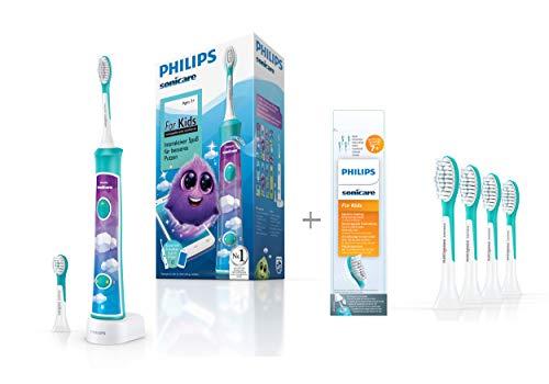 Philips Sonicare For Kids Elektrische Zahnbürste HX6322/04, mit Schalltechnologie, für Kinder, inkl. Aufsteckbürsten ab 7 Jahren