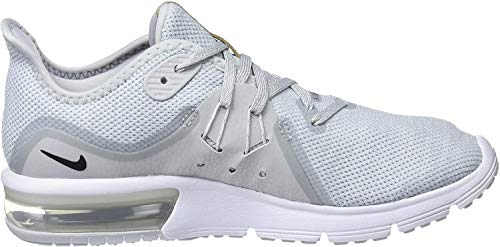 Nike Wmns Air MAX Sequent 3, Zapatillas de Running para Mujer, Dorado (Pure Platinum/Black/White 008), 41 EU