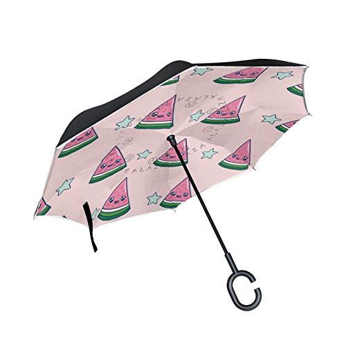 Linda Sonrisa Sandía Paraguas Invertido Doble Capa Inverso Reverso con Mango en Forma de C Paraguas de Plegado para Automóviles en Exteriores
