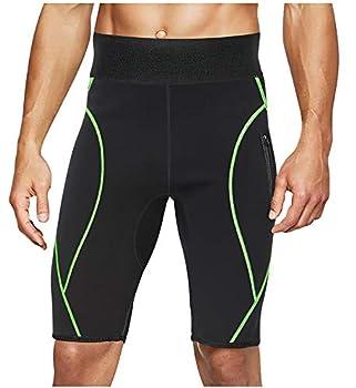 LODAY Mens Neoprene Sauna Sweat Shorts with Zipper Pocket Workout Body Shaper Slimming Yoga Pants  Black XL