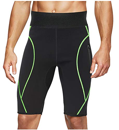 LODAY Mens Neoprene Sauna Sweat Shorts with Zipper Pocket Workout Body Shaper Slimming Yoga Pants (Black, XL)