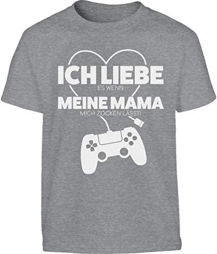 Gamer Liebe Es Wenn Meine Mama Mich Zocken Lässt Kinder und Teenager T-Shirt 140 Grau