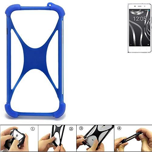 K-S-Trade® Handyhülle Für BQ Readers Aquaris X5 Plus Silikon Schutz Hülle Cover Case Bumper Silikoncase TPU Softcase Schutzhülle Smartphone Stoßschutz, Blau (1x),