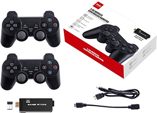 Generic Wireless-Spiel Joystick-Controller, 4K 32G 3500 Classic Game Stick Videospielkonsole Mini-Retro-Controller HDMI-Ausgang Dual Player 2.4G USB Wireless-Konsole