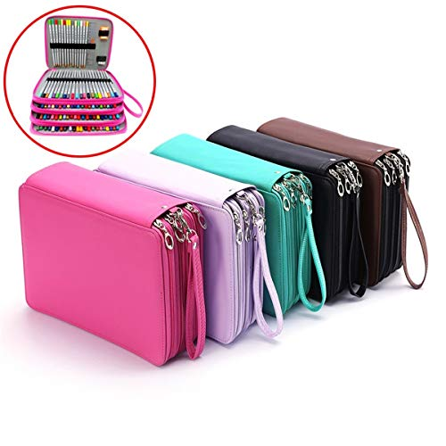 CoCocina 184 Slots Pencil Case Large Capacity Pen Bag Organizer Foldable Colored Storage - Rose