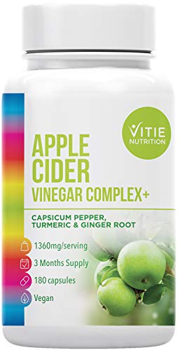 Apple Cider Vinegar Complex - 180 Vegan Capsules with Raw Unfiltered ACV Plus Added Capsicum Pepper, Turmeric and Ginger Root - 1360mg Daily Dosage - Made in The UK (180)