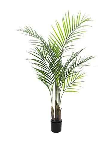 artplants.de Set 2 x Deko Großblatt Arecapalme, 125cm, wetterfest - Kunstpalme - Künstliche Areca Palme