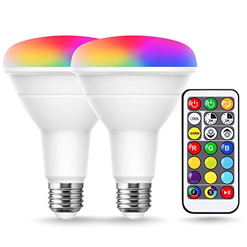 JandCase BR30 Color Changing Flood Lights, RGB+Warm+Cool White LED Recessed Light Bulb, 12W(100W Equivalent), 1050lm, Remote Control, Dimmable Multi-color Can Light Bulbs for Ceiling, E26 Base, 2 Pack