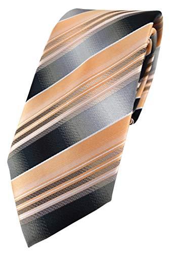 TigerTie Designer Krawatte in lachs orange silber anthrazit grau gestreift
