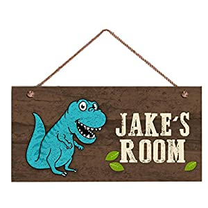 Blue T-REX Sign, Dinosaur Personalized Sign, Kid's Name Door Sign, Baby Nursery Wall Decor,6″ x 12″ Sign