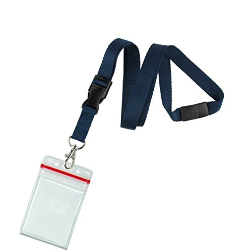 5 Pack - Premium Quick Release Lanyards with Detachable Buckle & Heavy Duty Waterproof Badge Holders by Specialist ID (Dark Navy Blue)