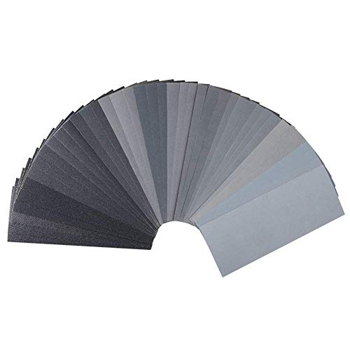 Assorted Grit Sandpaper 120 to 3000 Wood Furniture Finishing Metal Automotive Polishing, Wet Dry Sanding Abrasive Variety Pack, Sand Paper 9x3.6 Inch, 42 Sheet