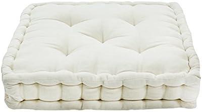 Thedecofactory 448150 Upholstered Pouffe, Cotton Velvet, Ecru, 40 x 40 x 8 cm