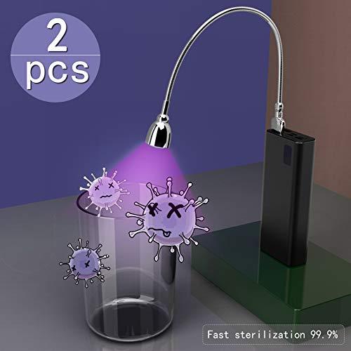 Auelife UV Desinfektion Lampe, Tragbare UV Sterilisation Lampe 360° UV Sterilisator Licht, USB Aufladung-1800mAh für Zuhause, Hotel, Badezimmer, Toilette, Autositz, Haustierdesinfektion