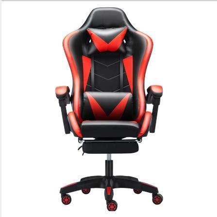 LWZ Sillas de Juego, sillas de Oficina, sillas giratorias robustas y ergonómicas, sillas con Cojines y respaldos Ajustables, sillas con reposapiés retráctiles (Negro y Rojo)