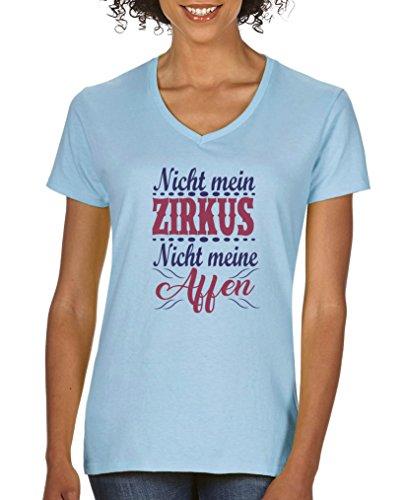 Comedy Shirts - Nicht mein Zirkus, Nicht Meine Affen - Damen V-Neck T-Shirt - Hellblau/Lila-Fuchsia Gr. L
