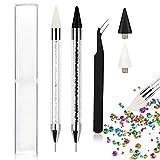 2 Pack Nail Rhinestone Picker Dotting Pen, EBANKU Dual-end Diamond Crystals Picker Wax Pencil Rhinestones Pickup Tool with 2 PCS Extra Wax Heads and 1 PC Tweezer