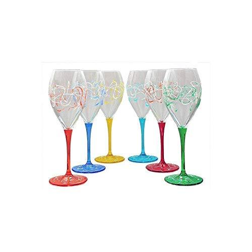 Set von 6 Weingläsern Jazz cl. 32,5 monocolour von Hand bemalt Glas, Murano Venedig Stil