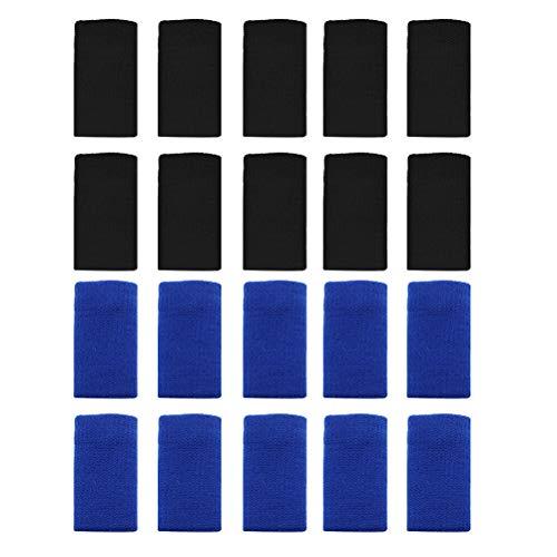 ABOOFAN Fingerbandagen aus Nylon, elastisch, für Volleyball, Basketball, Arthritis, 20 Stück (10 Stück schwarz + 10 Stück blau)